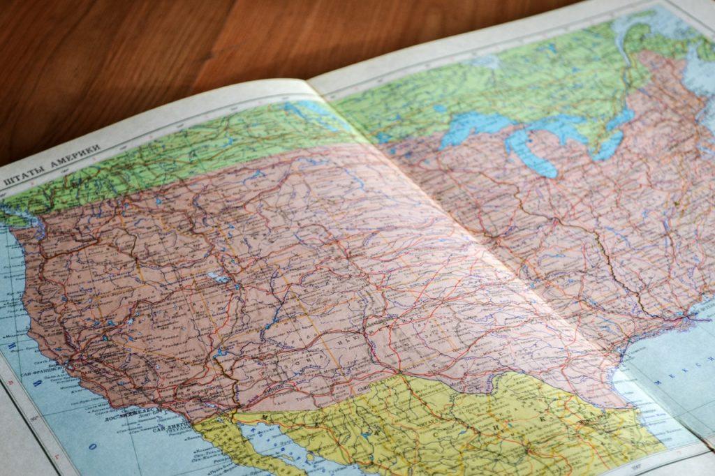 Mapa oeste de Estados Unidos.